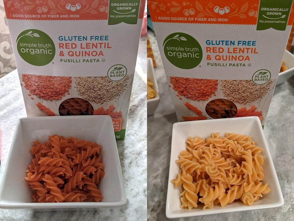 (left) uncooked simple truth organic protein pasta (right) cooked simple truth protein pasta