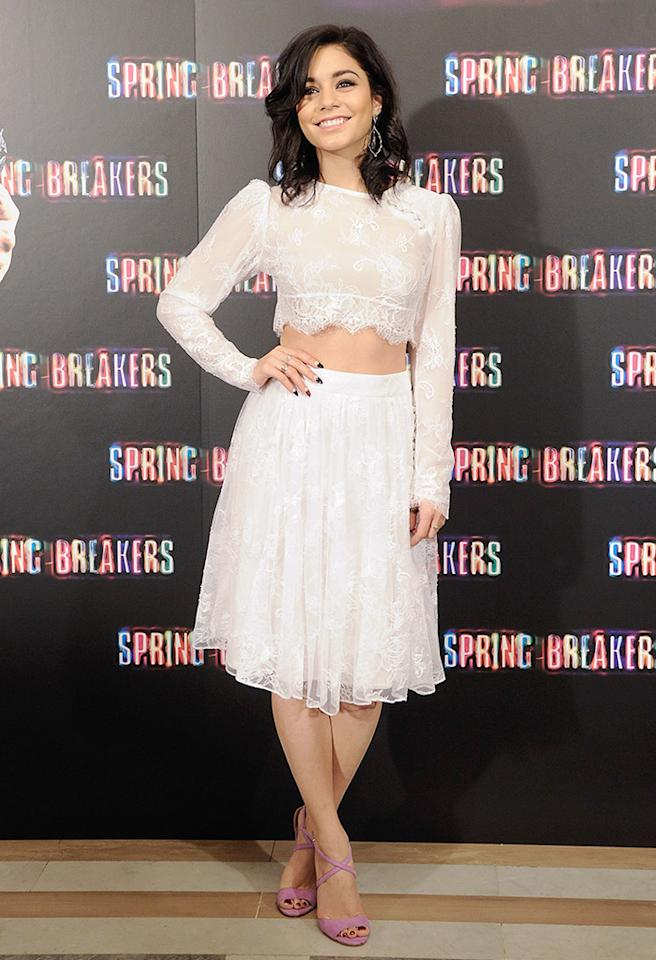MADRID, SPAIN - FEBRUARY 21:  Vanessa Hudgens attends a photocall for Spring Breakers at the Villamagna Hotel on February 21, 2013 in Madrid, Spain.  (Photo by Fotonoticias/WireImage)