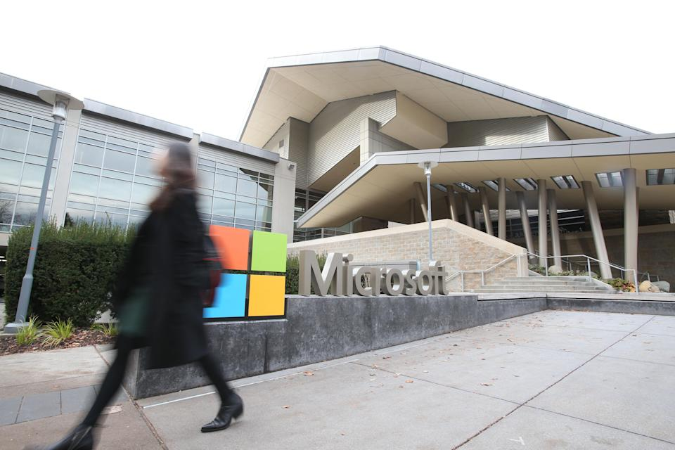 REDMOND ,U.S., Dec. 3, 2019 -- Photo taken on Nov. 14, 2019 shows the Microsoft headquarters in Redmond, the United States. The world will continue to see technological breakthroughs in artificial intelligence ,AI, and their potential application in healthcare and financial services will have a transformative impact on human life, Harry Shum has said. (Photo by Wang Ying/Xinhua via Getty) TO GO WITH Interview: AI breakthroughs potentially to reshape healthcare, finance: Microsoft AI chief (Xinhua/Qin Lang via Getty Images)