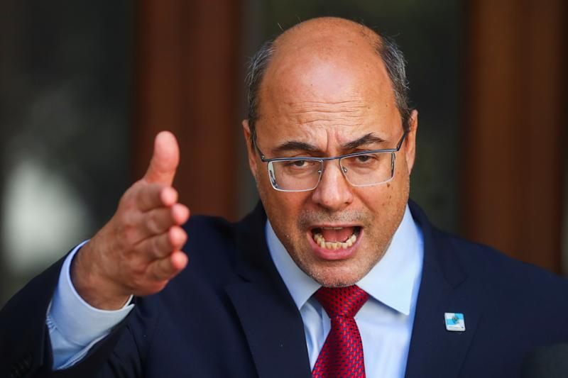 Rio de Janeiro Governor Wilson Witzel speaks to the media at Laranjeiras Palace, following the outbreak of the coronavirus disease (COVID-19), in Rio de Janeiro, Brazil August 28, 2020. REUTERS/Pilar Olivares