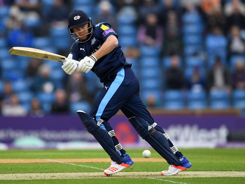 Jonny Bairstow plays a short for Yorkshire during their win against Durham: Getty