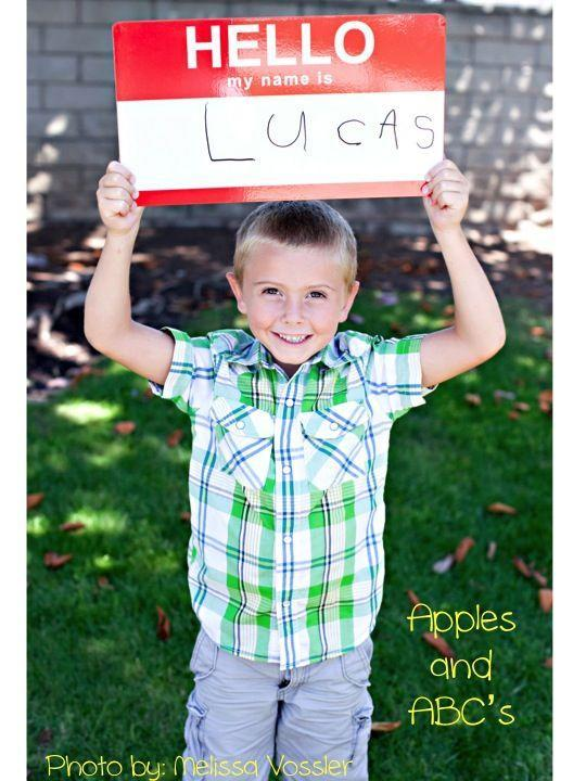 """<p>Start a tradition of using a name tag whiteboard and watch the handwriting improve over the years. (Hopefully.)</p><p><em><a href=""""http://www.applesandabcs.com/2012/07/first-day-of-kindergarten-photo.html"""" rel=""""nofollow noopener"""" target=""""_blank"""" data-ylk=""""slk:See more at Apples and ABC's »"""" class=""""link rapid-noclick-resp"""">See more at Apples and ABC's »</a></em></p>"""