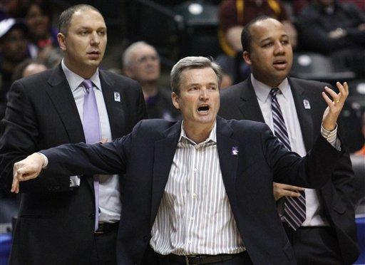 Northwestern head coach Bill Carmody directs his team in the first half of an NCAA college basketball game against Minnesota at the first round of the Big Ten Conference tournament in Indianapolis, Thursday, March 8, 2012. (AP Photo/Kiichiro Sato)