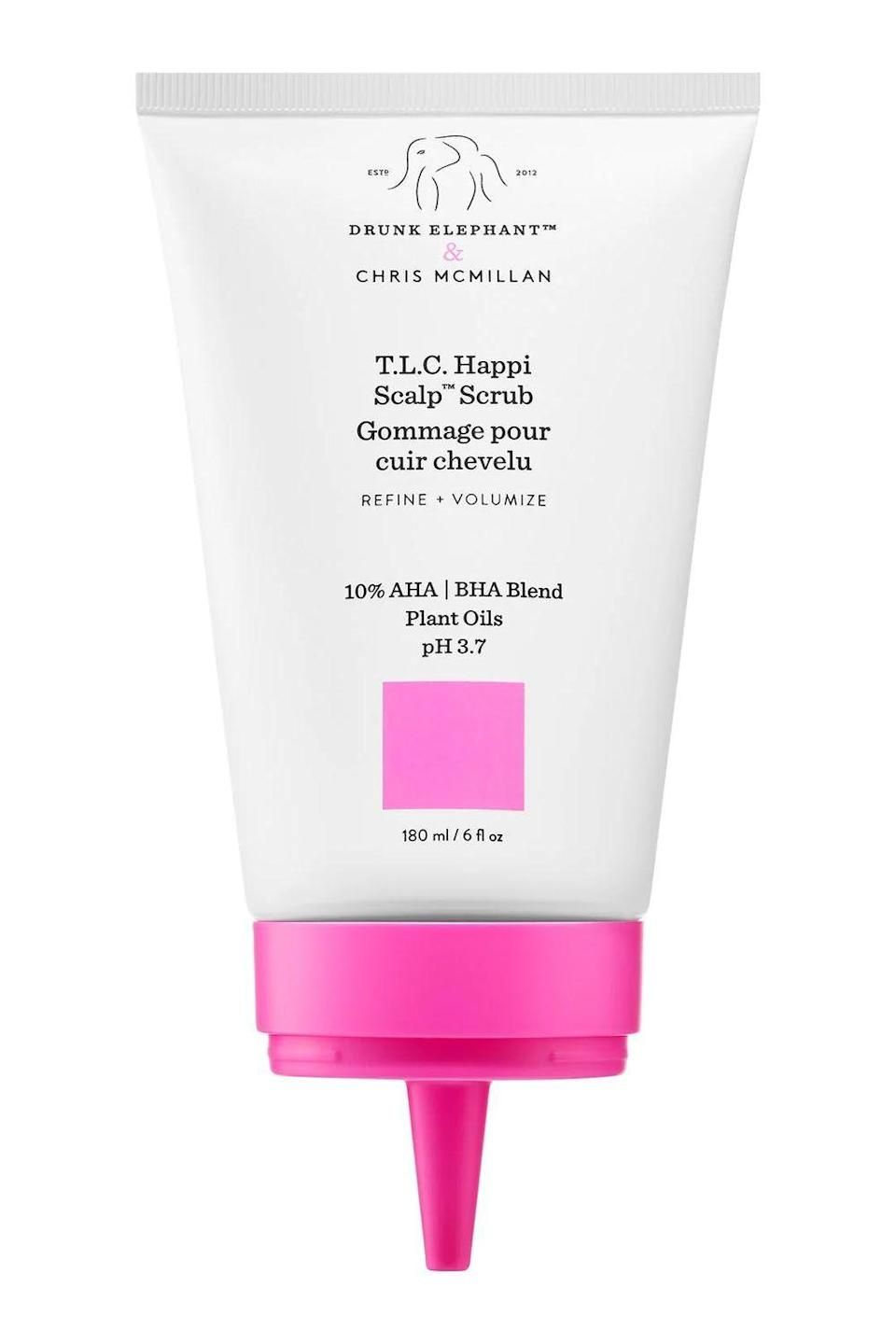 """<p><strong>Drunk Elephant</strong></p><p>sephora.com</p><p><strong>$36.00</strong></p><p><a href=""""https://go.redirectingat.com?id=74968X1596630&url=https%3A%2F%2Fwww.sephora.com%2Fproduct%2Fdrunk-elephant-t-l-c-happi-scalp-scrub-P457205&sref=https%3A%2F%2Fwww.cosmopolitan.com%2Fstyle-beauty%2Fbeauty%2Fg26114920%2Fbest-scalp-scrubs%2F"""" rel=""""nofollow noopener"""" target=""""_blank"""" data-ylk=""""slk:Shop Now"""" class=""""link rapid-noclick-resp"""">Shop Now</a></p><p>FYI: Just because this scalp scrub is formulated with <a href=""""https://www.cosmopolitan.com/style-beauty/beauty/g20126849/organic-skin-care-brands-products/"""" rel=""""nofollow noopener"""" target=""""_blank"""" data-ylk=""""slk:natural"""" class=""""link rapid-noclick-resp"""">natural</a> ingredients doesn't mean it isn't powerful AF. The highlight of the formula is the AHA/BHA acid blend (yes, the same acids you put on your face) that <strong>break down dead skin cells and melt away your dry-shampoo buildup.</strong> And in case you're wondering if the acids will leave your scalp tight and dry, don't worry—the scrub is also filled with marula and mongogo oils to boost hydration levels.</p>"""