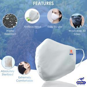 The Premium Antibacterial Cloth Mask is washable, reusable. It has certification from CE, FDA, TUV Reach & made from a 3-ply, water-resistant, passing some of the most stringent standards in the world