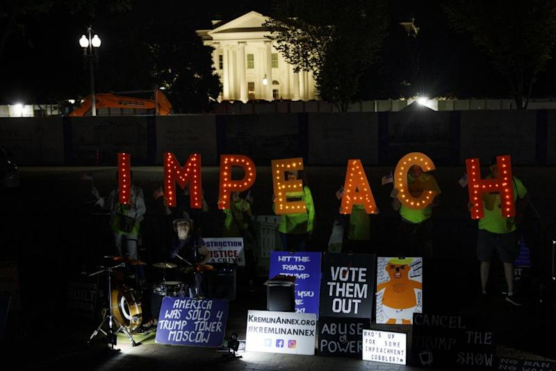 Protesters outside the White House on Tuesday, the day a formal impeachment inquiry was announced.