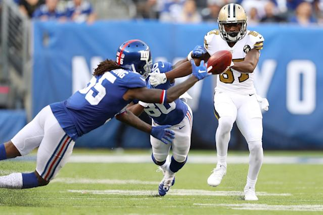 <p>Brandon Tate #87 of the New Orleans Saints bobbles a punt return during the second quarter against the New York Giants at MetLife Stadium on September 30, 2018 in East Rutherford, New Jersey. (Photo by Elsa/Getty Images) </p>