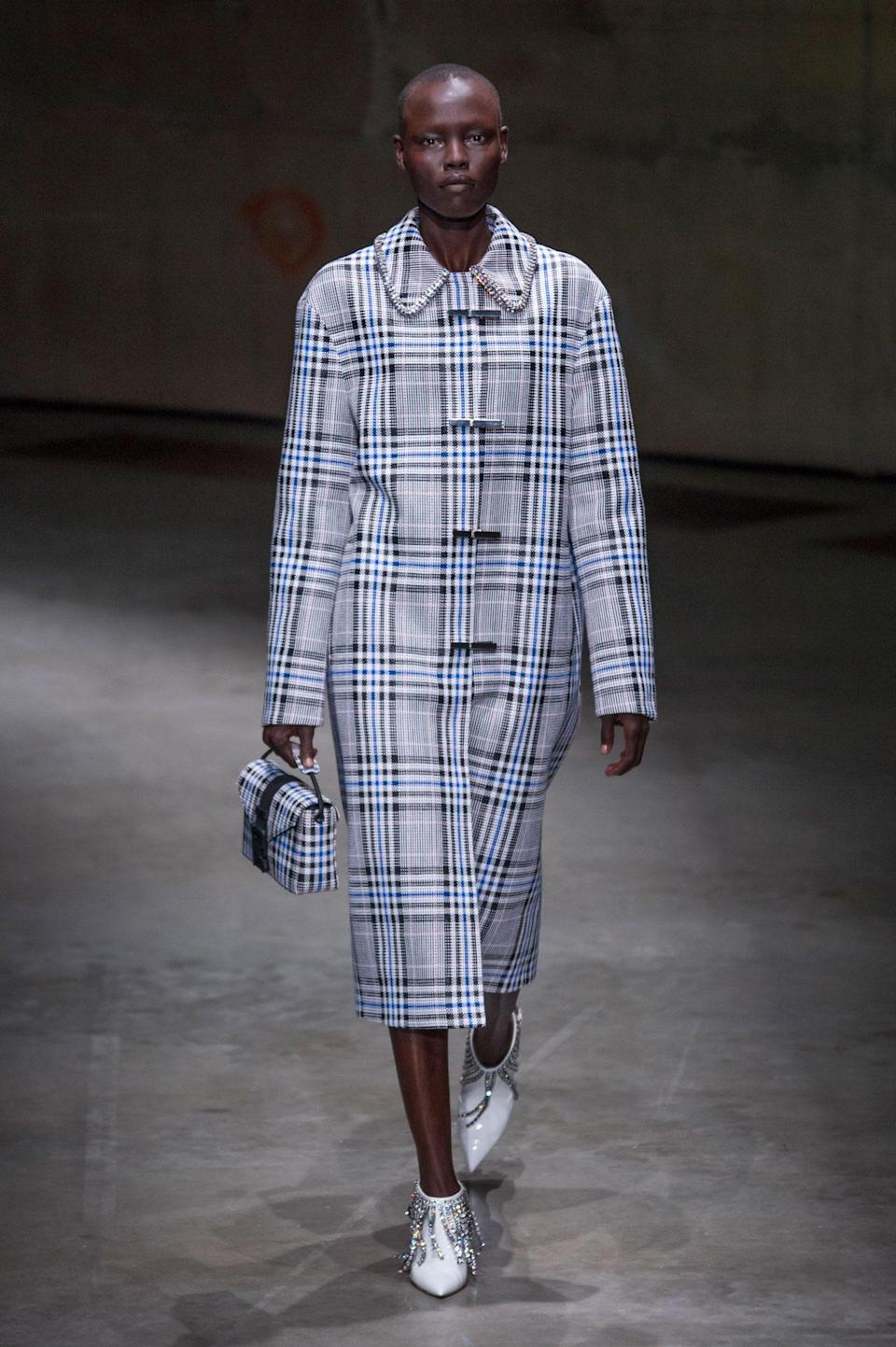 <p>Blue plaid coat from the SS18 Christopher Kane collection. (Photo: ImaxTree) </p>