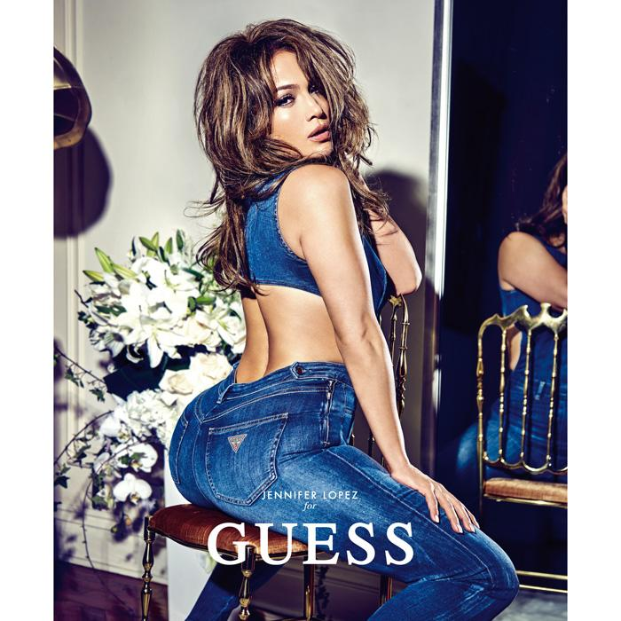 J'lo Sizzle in Figure Hugging Denim Jumpsuit For Guess