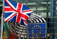 FILE PHOTO: A British Union Jack flag flutters outside the European Parliament in Brussels