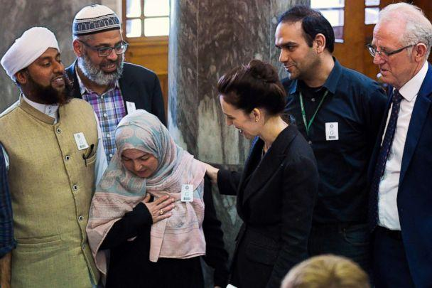PHOTO: New Zealand Prime Minister Jacinda Ardern meets with Muslim community leaders after the Parliament session in Wellington on March 19, 2019. (Dave Lintott/AFP/Getty Images)