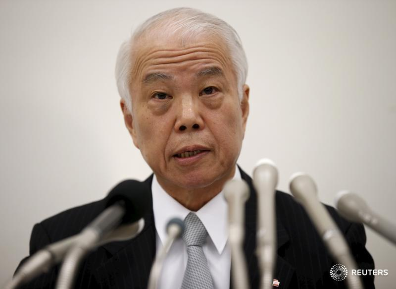 Takata Corp CFO Nomura speaks during a news conference in Tokyo