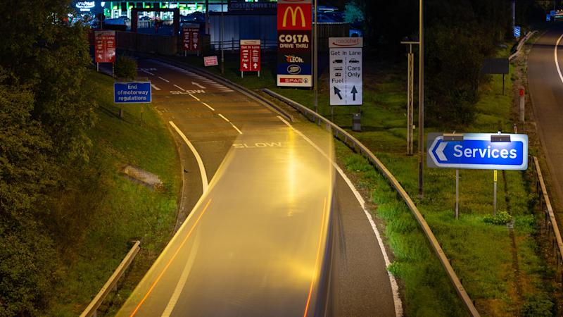 Motorway service area at night
