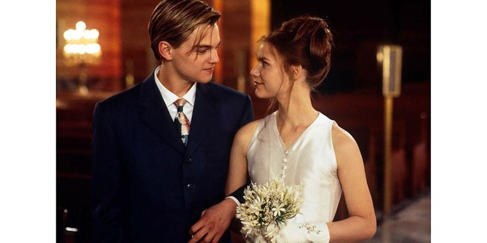 <p>In the modern <em>Romeo + Juliet</em> adaptation, Claire Danes played Juliet and married her Romeo (a.k.a. Leonardo DiCaprio) in a minimalist sleeveless satin gown.<br></p>