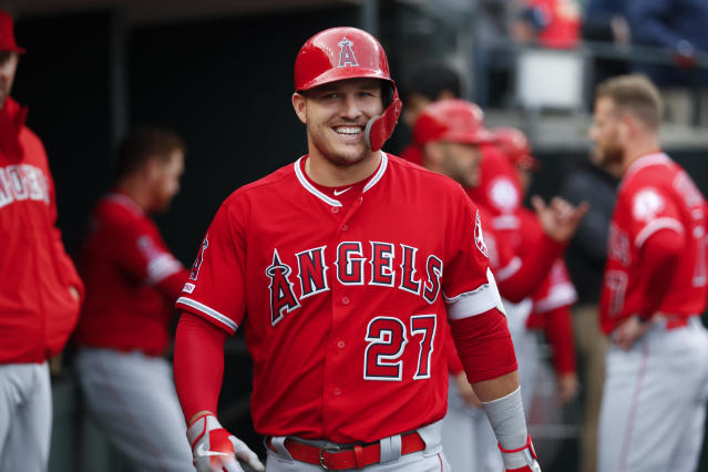 Mike Trout has had plenty to smile about this season. (AP Photo/Paul Sancya)