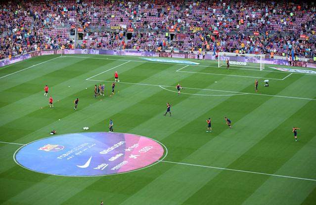 Soccer Football - La Liga Santander - FC Barcelona vs Real Sociedad - Camp Nou, Barcelona, Spain - May 20, 2018 Players warm up before the match REUTERS/Albert Gea