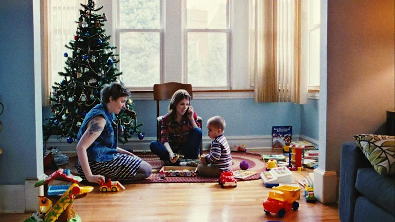 "This photo provided by the Sundance Institute shows, from left, Lena Dunham, Anna Kendrick, and Jude Swanberg in a scene from the film, ""Happy Christmas."" Ladies continue to drive the lineup of the Sundance Film Festival as Robert Redford's independent-cinema fair will celebrate its 30th anniversary starting Jan. 16, 2014, in Park City, Utah. (AP Photo/Sundance Institute, Ben Richardson)"