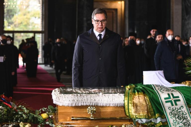 Serbian President Aleksandar Vucic was among those paying his last respects Sunday