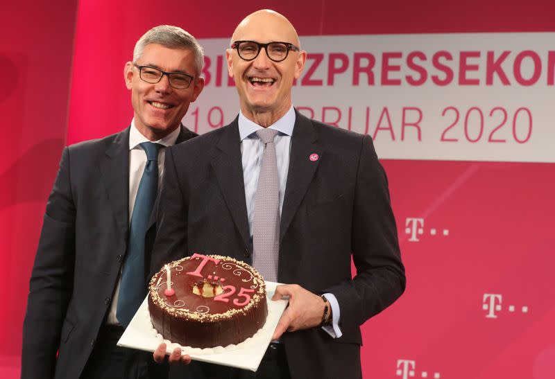 Hoettges, CEO of German telecommunications giant Deutsche Telekom AG at news conference in Bonn