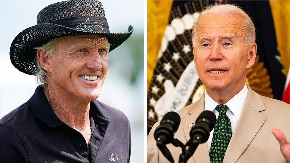 Greg Norman (pictured left) smiling during a tournament and US President Joe Biden during a national address.