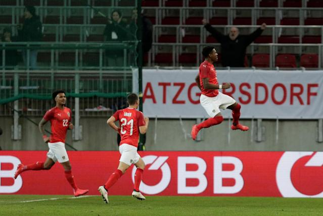 Soccer Football - International Friendly - Austria vs Slovenia - Worthersee Stadium, Klagenfurt, Austria - March 23, 2018 Austria's David Alaba celebrates scoring their first goal REUTERS/Heinz-Peter Bader