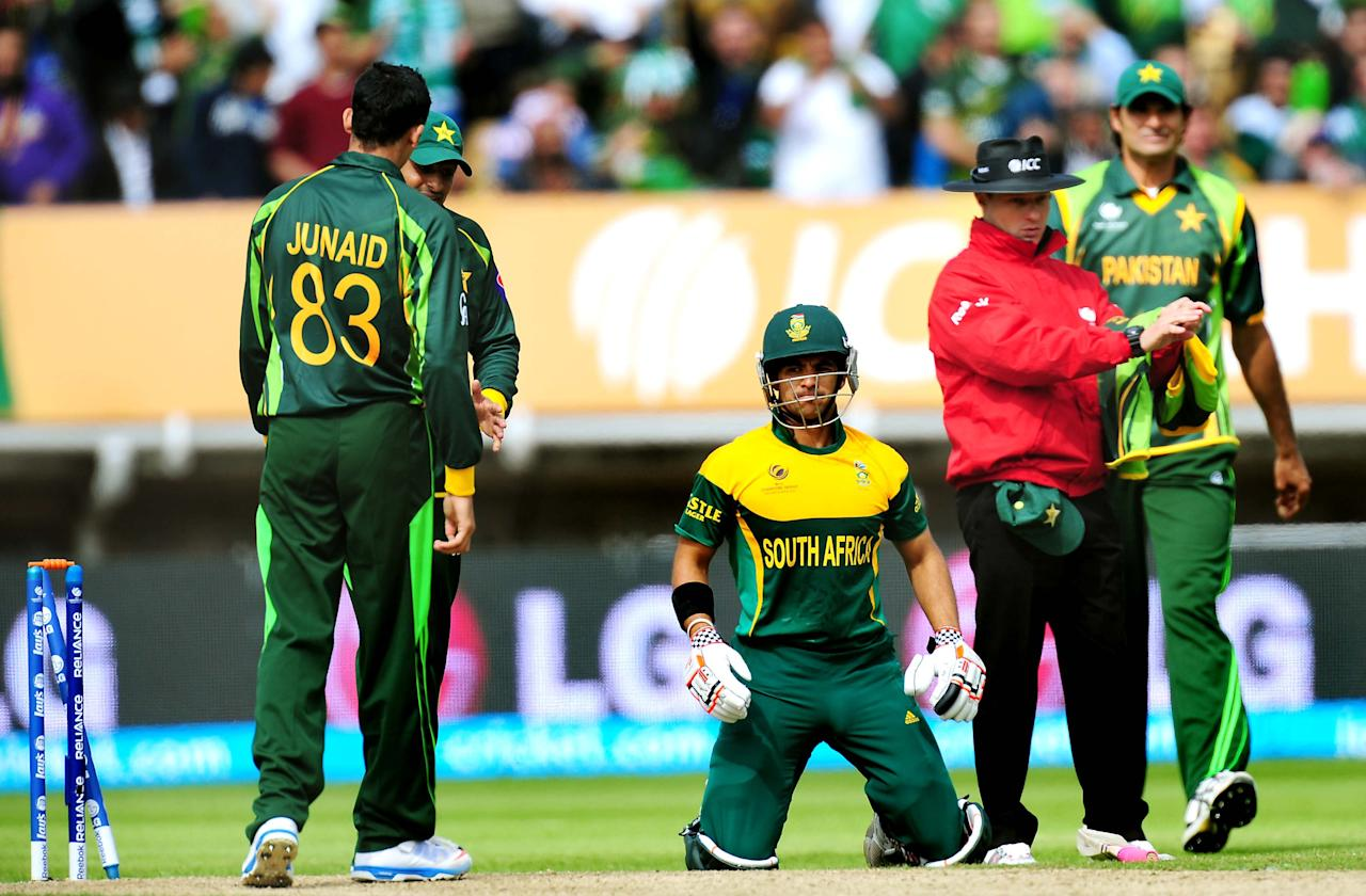 South Africa's JP Duminy after being run out during the ICC Champions Trophy match at Edgbaston, Birmingham.