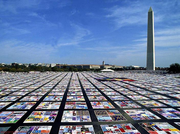 "<span class=""caption"">The AIDS Memorial Quilt, honoring people who died of AIDS, on display in Washington, D.C. in 2011. </span> <span class=""attribution""><a class=""link rapid-noclick-resp"" href=""https://upload.wikimedia.org/wikipedia/commons/b/b4/Aids_Quilt.jpg"" rel=""nofollow noopener"" target=""_blank"" data-ylk=""slk:NIH/Wikipedia"">NIH/Wikipedia</a></span>"