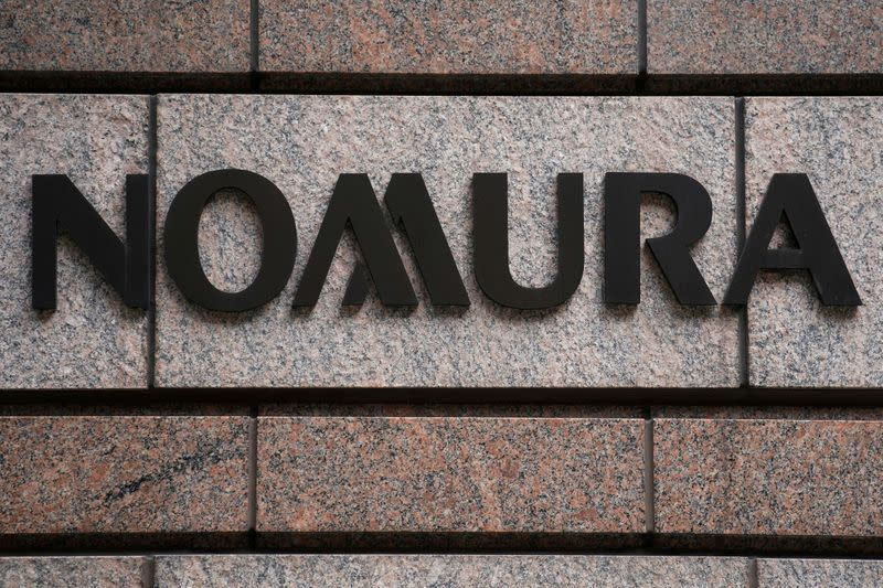 FILE PHOTO: A Nomura logo is pictured at the Japanese company's office in the Manhattan borough of New York City