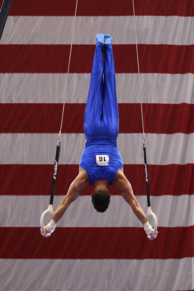 ST. LOUIS, MO - JUNE 7: Chris Brooks competes on the rings during the Senior Men's competition on day one of the Visa Championships at Chaifetz Arena on June 7, 2012 in St. Louis, Missouri. (Photo by Dilip Vishwanat/Getty Images)