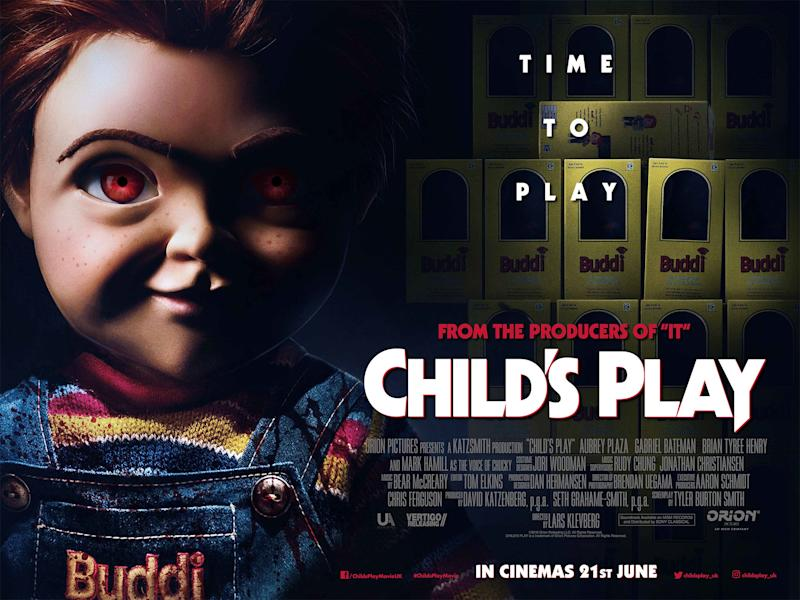 UK poster for the 2019 remake of 'Child's Play', starring Mark Hamill as the killer doll Chucky. (Credit: Vertigo Releasing)