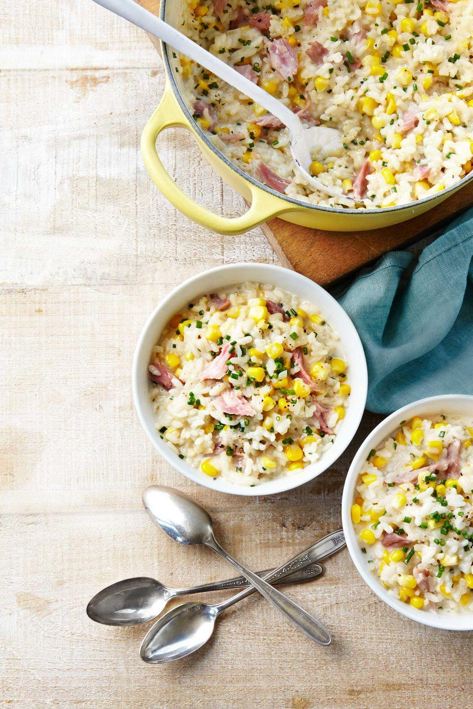 """<p>Risotto makes for not-too-leftover-y leftovers because you can serve it in patty form the next go-round. Fry in oil or butter for a few minutes for a delicious turn of events.<br></p><p><strong><a href=""""https://www.countryliving.com/food-drinks/recipes/a39368/corn-and-ham-risotto-recipe/"""" rel=""""nofollow noopener"""" target=""""_blank"""" data-ylk=""""slk:Get the recipe"""" class=""""link rapid-noclick-resp"""">Get the recipe</a>.</strong> </p>"""