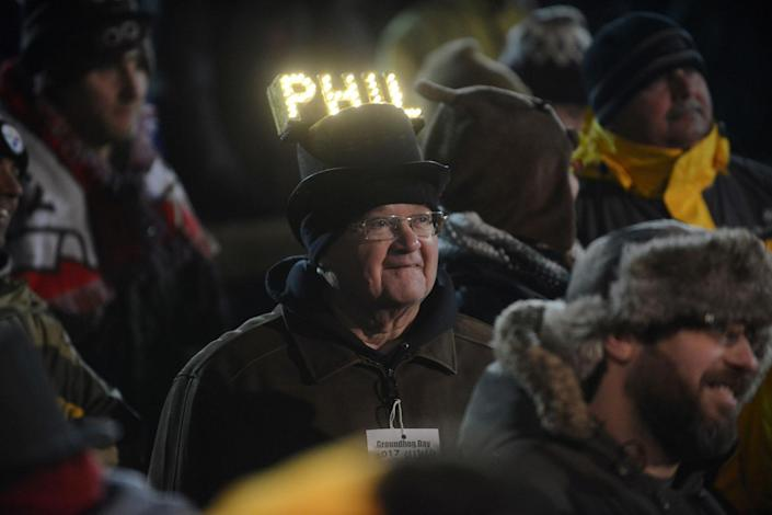 <p>Barry Edwards of Lancaster, Pa., wears a homemade, lighted Phil hat at Gobbler's Knob on the 131st Groundhog Day in Punxsutawney, Pa., Feb. 2, 2017. (REUTERS/Alan Freed) </p>