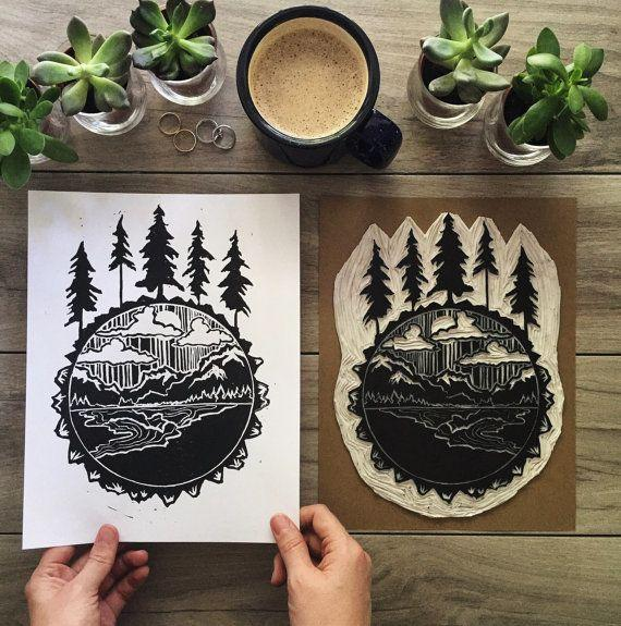 """""""No trees in sight? Create your own indoor forest by incorporating pine tree motifs into your home decor,"""" Johnson says. <a href=""""https://www.etsy.com/listing/470056957/five-pines-print-original-blockprint"""" target=""""_blank"""">Shop them here</a>."""