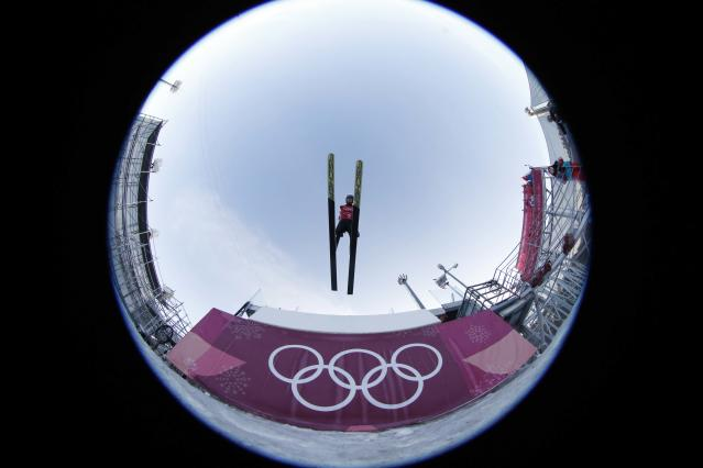 Nordic Combined Events - Pyeongchang 2018 Winter Olympics - Team LH Training - Alpensia Ski Jumping Centre - Pyeongchang, South Korea - February 21, 2018 - Laurent Muhlethaler of France trains. Picture taken with a fisheye lens. REUTERS/Jorge Silva