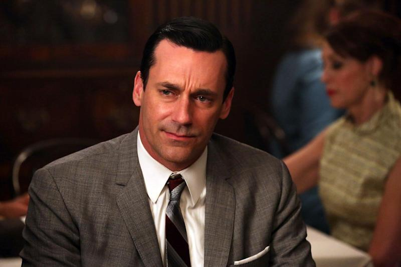 """This TV publicity image released by AMC shows Jon Hamm as Don Draper in a scene from """"Mad Men."""" Hamm is nominated for an Emmy Award for best actor in a drama series on, for his role in """"Mad Men."""" The Academy of Television Arts & Sciences' Emmy ceremony will be hosted by Neil Patrick Harris. It will air Sept. 22 on CBS. (AP Photo/AMC, Michael Yarish)"""