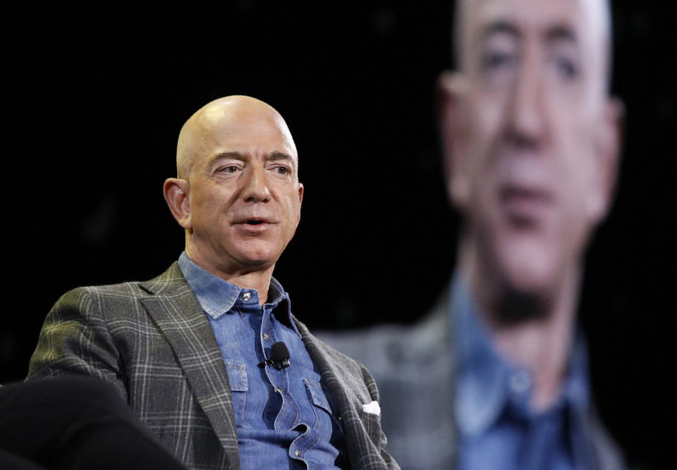 FILE - In this June 6, 2019, file photo Amazon CEO Jeff Bezos speaks at the the Amazon re:MARS convention in Las Vegas.  The Amazon founder officially stepped down as CEO on Monday, July 5, 2021, handing over the reins as the company navigates the challenges of a world fighting to emerge from the coronavirus pandemic. Andy Jassy, the head of Amazon's cloud-computing business, replaced Bezos, a change the company had announced in February.  (AP Photo/John Locher, File)