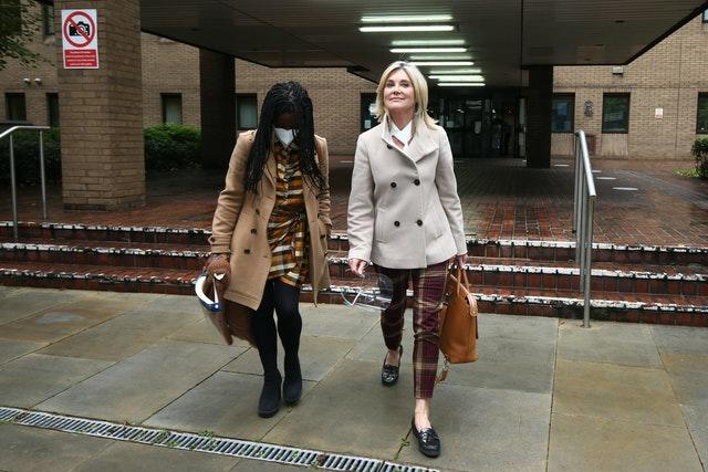 Former Blue Peter presenters Diane Louise Jordan (left) and Anthea Turner gave evidence n support of their ex-colleague (Yui Mok/PA)