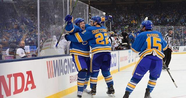 <p><em>Vladimir Tarasenko #91 of the St. Louis Blues celebrates his goal against the Chicago Blackhawks with teammates Kevin Shattenkirk #22 and Robby Fabbri #15 during the 2017 Bridgestone NHL Winter Classic at Busch Stadium on January 2, 2017 in St Louis, Missouri. (Photo by Patrick McDermott/NHLI via Getty Images)</em></p>