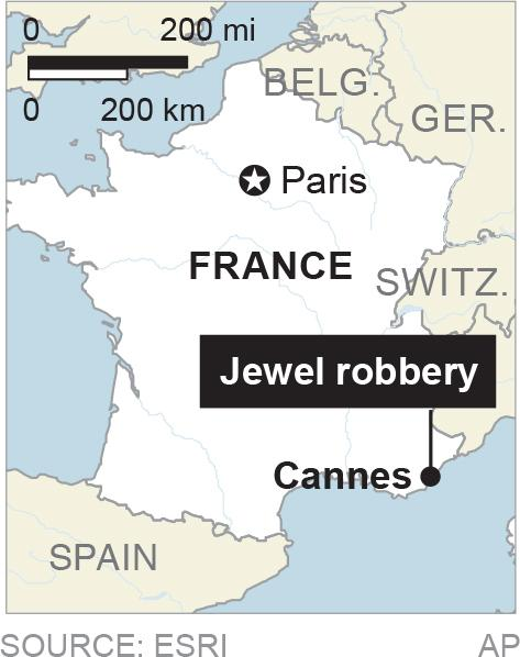 Map locates Cannes, France, where millions in jewels were stolen; 1c x 2 inches; 46.5 mm x 50 mm;