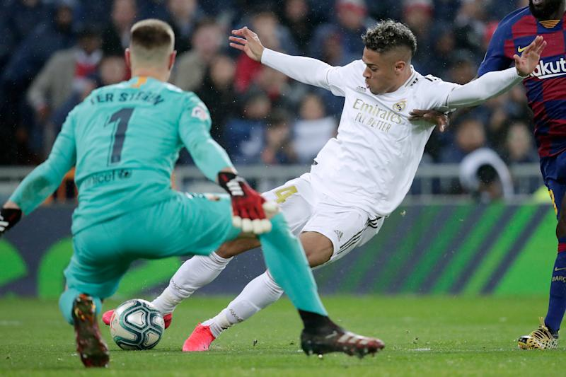 MADRID, SPAIN - MARCH 1: Mariano Diaz of Real Madrid scores 2-0 during the La Liga Santander match between Real Madrid v FC Barcelona at the Santiago Bernabeu on March 1, 2020 in Madrid Spain (Photo by David S. Bustamante/Soccrates/Getty Images)