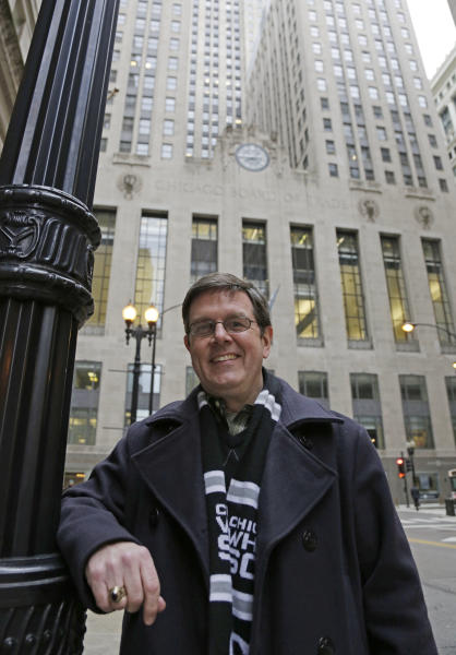 Sean Toohey, a grains broker at the Chicago Board of Trade, who had hip replacement surgery last summer, poses for a photo Monday, Feb. 11, 2013, in Chicago. Routine hip replacement surgery on a healthy patient may cost as little as $11,000 _ or up to nearly $126,000. Toohey said he has good health insurance that covered most of the costs, and it didn't occur to him to ask about price beforehand. (AP Photo/M. Spencer Green)
