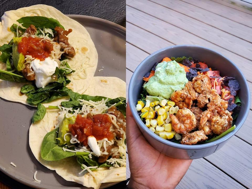 side by side photos of tacos and a shrimp salad