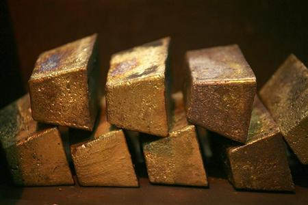 Gold bars are displayed at South Africa's Rand Refinery in Germiston