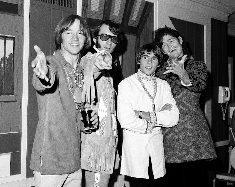 "FILE - This July 6, 1967 file photo shows the musical group, The Monkees, from left,  Peter Tork, Mike Nesmith, David Jones, and Micky Dolenz at a news conference at the Warwick Hotel in New York.The Monkees will perform its first live shows since its star Davy Jones died in February. Michael Nesmith, Micky Dolenz, and Peter Tork announced Wednesday, Aug. 8, 2012, that the group will launch a 12-date U.S. tour in November. Jones died of a heart attack on Feb. 29. The group starred in its own NBC television show in 1966 as a made-for-TV band seeking to capitalize on Beatlemania sweeping the world. Jones rocketed to the top of the music charts with The Monkees, captivating audiences with hits including ""Daydream Believer"" and ""I'm a Believer.""The tour kicks off Nov. 8 in Escondido, Calif. It wraps on Dec. 2 in New York. It will highlight Jones ""in the show's multimedia content."" (AP Photo/Ray Howard, file)"
