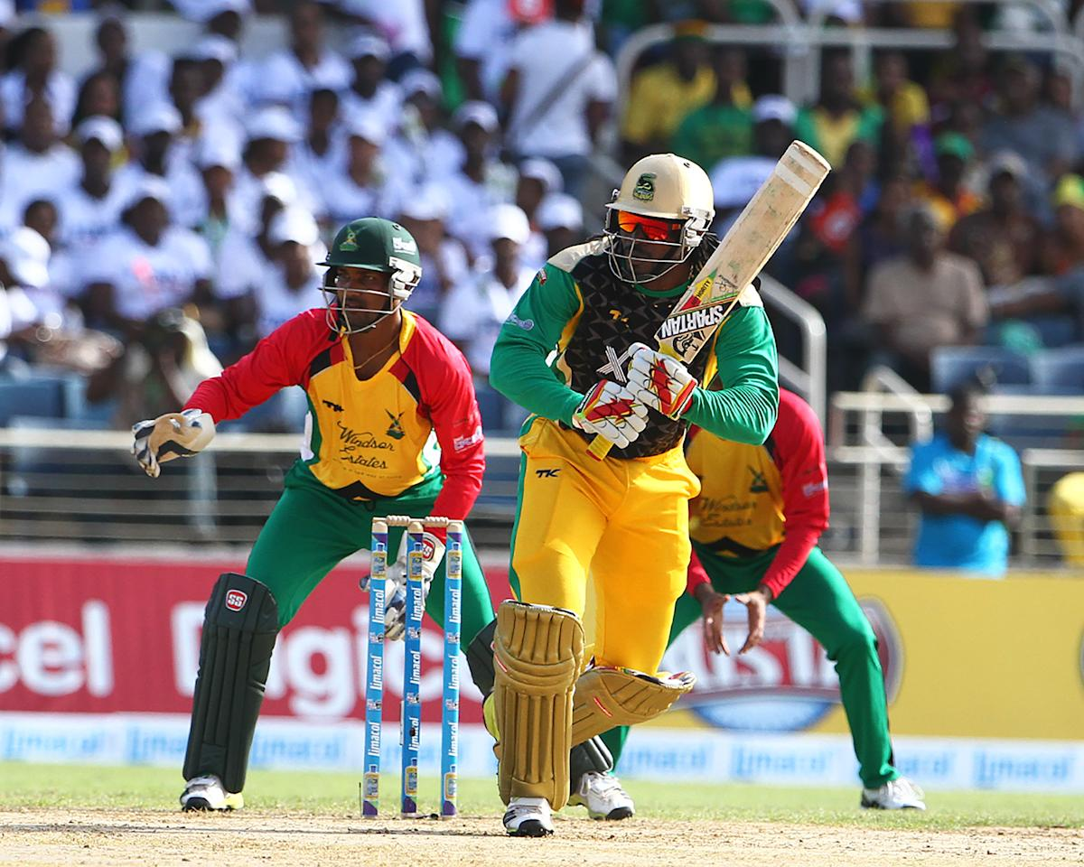 KINGSTON, JAMAICA - AUGUST 15: Chris Gayle works the ball to the onside during the Sixteenth Match of the Cricket Caribbean Premier League between Jamaica Tallawahs v Guyana Amazon Warriors at Sabina Park on August 15, 2013 in Kingston, Jamaica. (Photo by Ashley Allen/Getty Images Latin America for CPL)