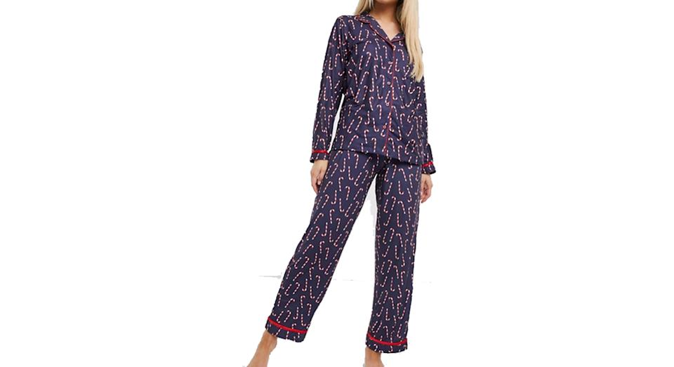 Loungeable christmas super soft pyjama set with candy cane print
