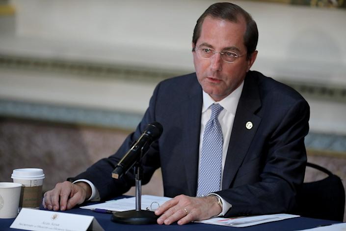 """<span class=""""s1"""">Health and Human Services Secretary Alex Azar speaks at a school safety meeting on Aug. 16. (Photo: Chip Somodevilla/Getty Images)</span>"""