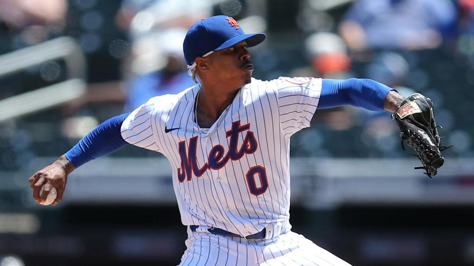May 27, 2021; New York City, New York, USA; New York Mets starting pitcher Marcus Stroman (0) pitches against the Colorado Rockies during the second inning at Citi Field.