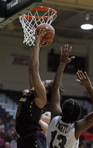 Maryland's Tianna Hawkins, left, shoots as Loyola's Tiffany Padgett (13) tries to block during the first half of an NCAA college basketball game at Reitz Arena, Sunday, Nov. 11, 2012, in Baltimore. (AP Photo/Jose Luis Magana)