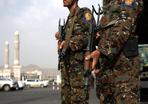 Yemeni soldiers stand guard in Sanaa in August 2012. In 2011, Al-Qaeda in the Arabian Peninsula took advantage of the weakness of the central government in Sanaa during protests against ousted president Ali Abdullah Saleh to expand its presence in the impoverished country